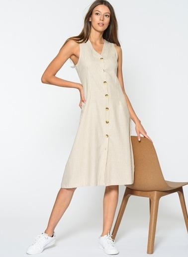 Loves You Kalın Askılı Düğmeli Elbise Bej